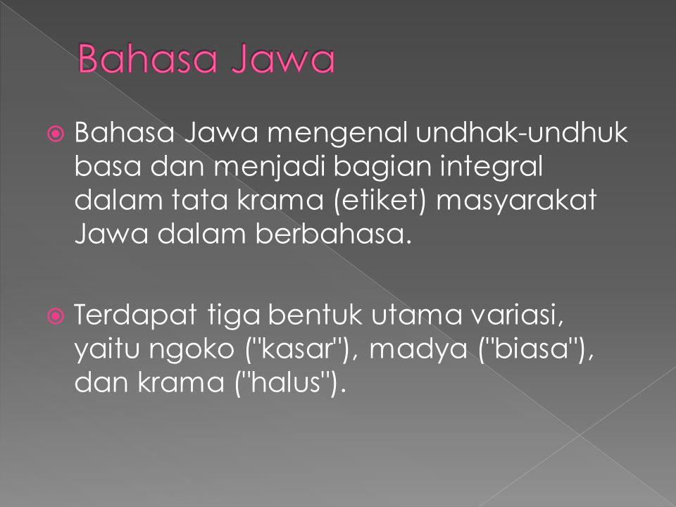  Bahasa Jawa mengenal undhak-undhuk basa dan menjadi bagian integral dalam tata krama (etiket) masyarakat Jawa dalam berbahasa.  Terdapat tiga bentu