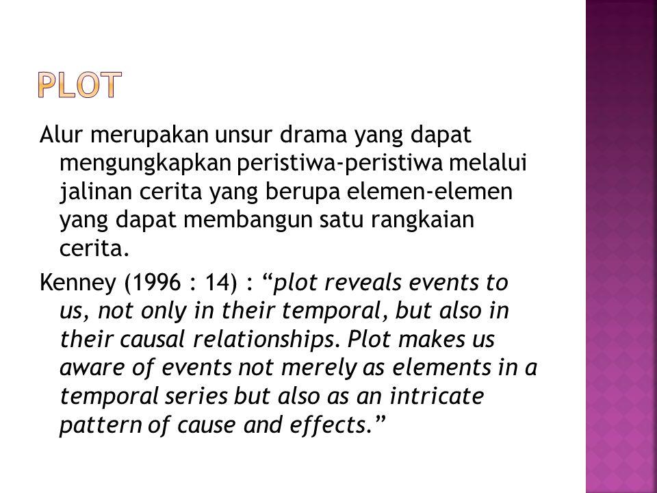 Alur merupakan unsur drama yang dapat mengungkapkan peristiwa-peristiwa melalui jalinan cerita yang berupa elemen-elemen yang dapat membangun satu rangkaian cerita.