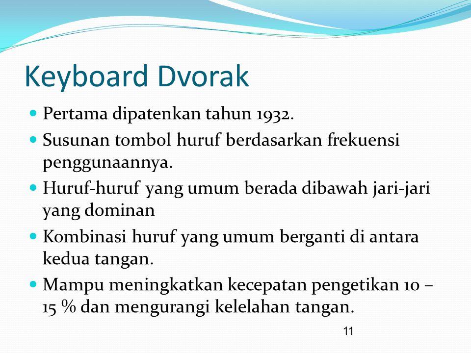 11 Keyboard Dvorak Pertama dipatenkan tahun 1932. Susunan tombol huruf berdasarkan frekuensi penggunaannya. Huruf-huruf yang umum berada dibawah jari-
