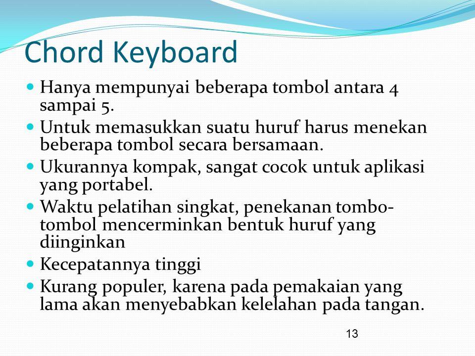 13 Chord Keyboard Hanya mempunyai beberapa tombol antara 4 sampai 5. Untuk memasukkan suatu huruf harus menekan beberapa tombol secara bersamaan. Ukur