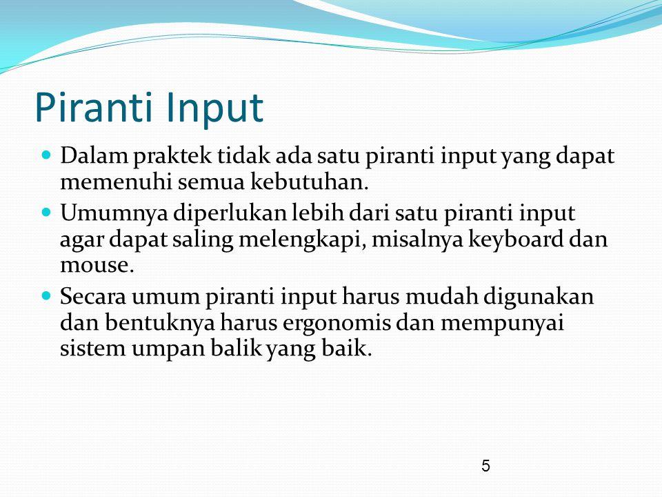 5 Piranti Input Dalam praktek tidak ada satu piranti input yang dapat memenuhi semua kebutuhan.