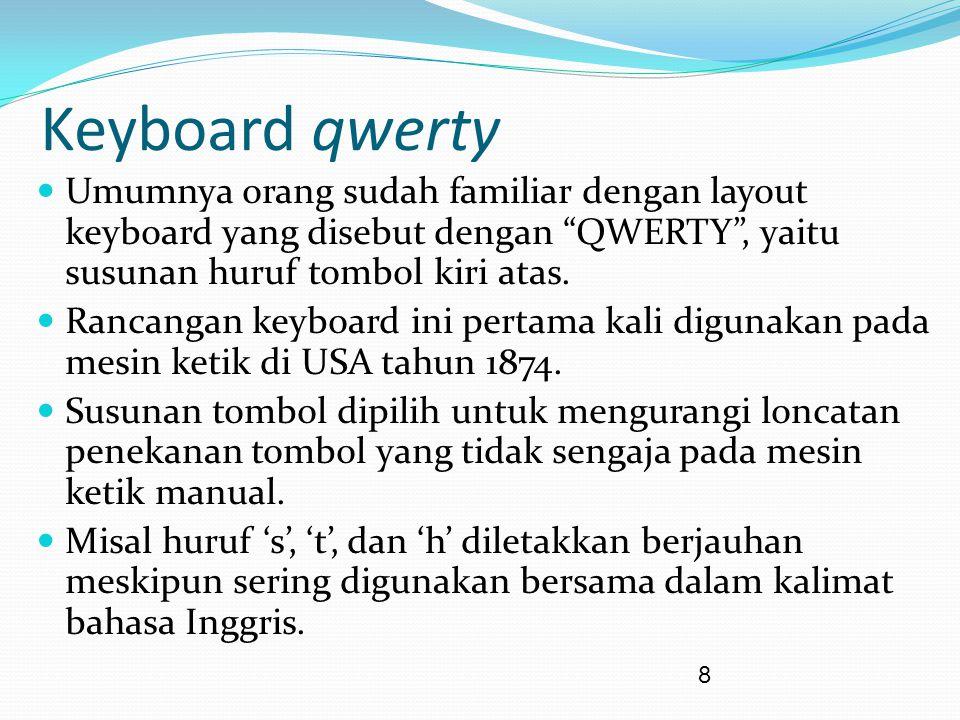 "8 Keyboard qwerty Umumnya orang sudah familiar dengan layout keyboard yang disebut dengan ""QWERTY"", yaitu susunan huruf tombol kiri atas. Rancangan ke"