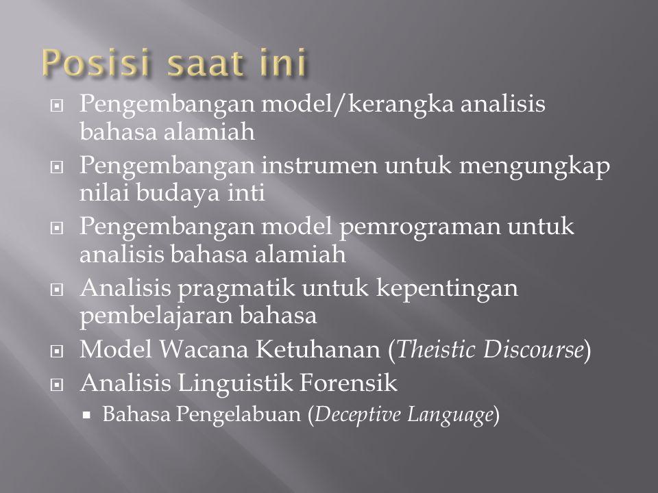  Pengembangan model/kerangka analisis bahasa alamiah  Pengembangan instrumen untuk mengungkap nilai budaya inti  Pengembangan model pemrograman unt