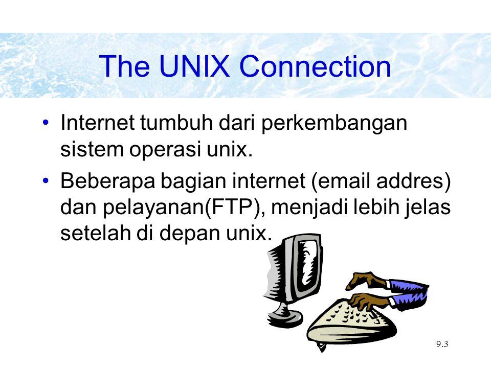 9.4 The Internet: Sebuah jaringan dari jaringan luas Internet adalah sebuah interkoneksi jaringan dengan ratusan jaringan lain yang mempunyai link ke academic, research, government, and commercial institutions.