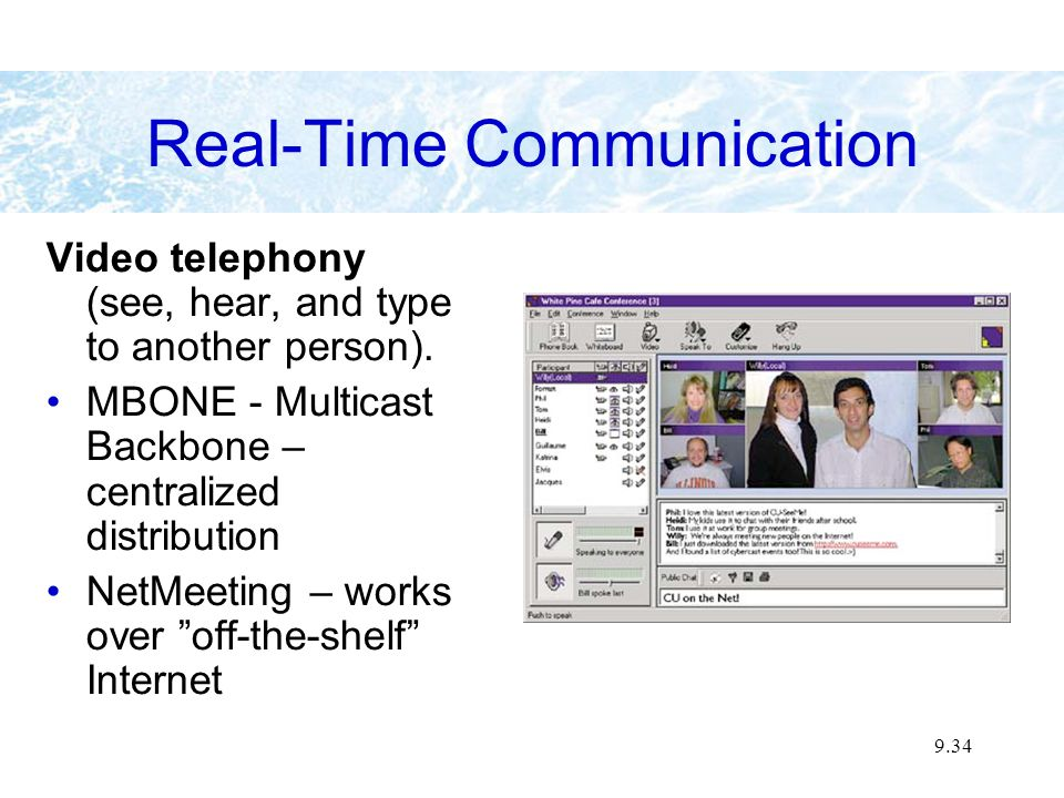 9.34 Real-Time Communication Video telephony (see, hear, and type to another person). MBONE - Multicast Backbone – centralized distribution NetMeeting