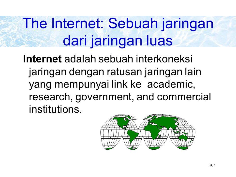 9.15 Internet Addresses Top level domains include: –.edu - educational sites –.com - commercial sites –.gov - government sites –.mil - military sites –.net - network administration sites –.org - nonprofit organizations