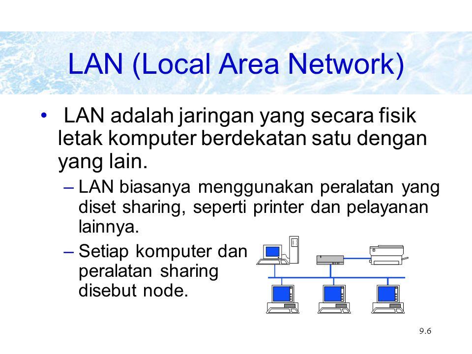 9.6 LAN (Local Area Network) LAN adalah jaringan yang secara fisik letak komputer berdekatan satu dengan yang lain.