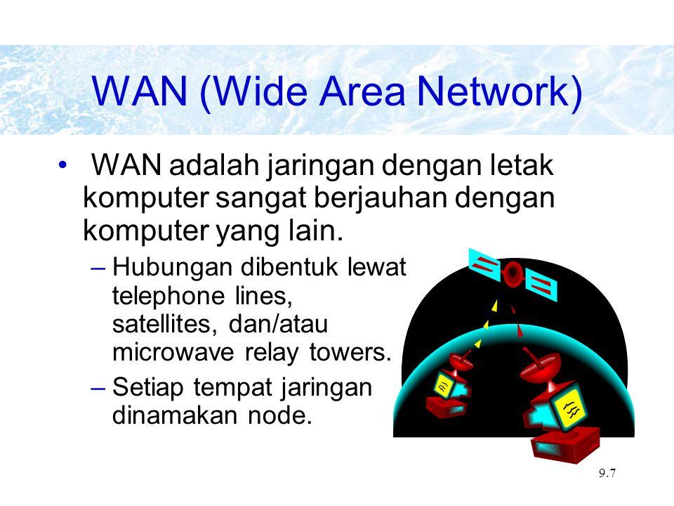 9.7 WAN adalah jaringan dengan letak komputer sangat berjauhan dengan komputer yang lain.