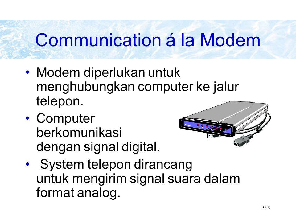 9.9 Modem diperlukan untuk menghubungkan computer ke jalur telepon.