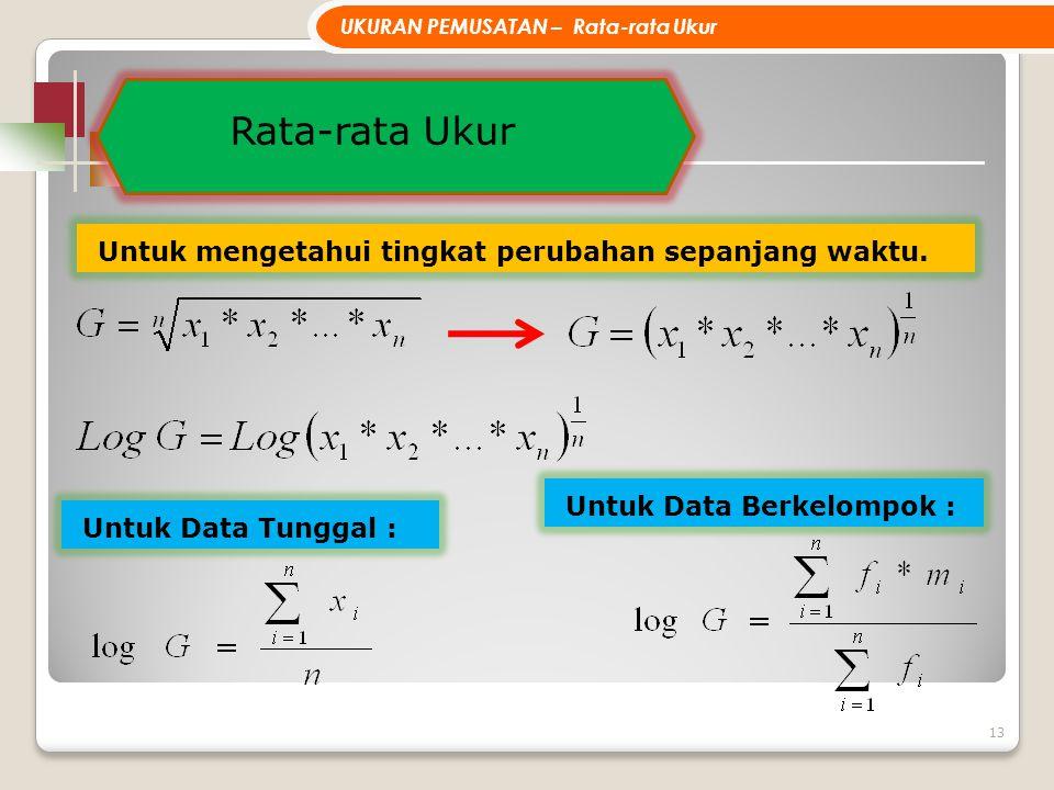 Rata-rata Ukur 13 Untuk mengetahui tingkat perubahan sepanjang waktu. UKURAN PEMUSATAN – Rata-rata Ukur Untuk Data Tunggal : Untuk Data Berkelompok :