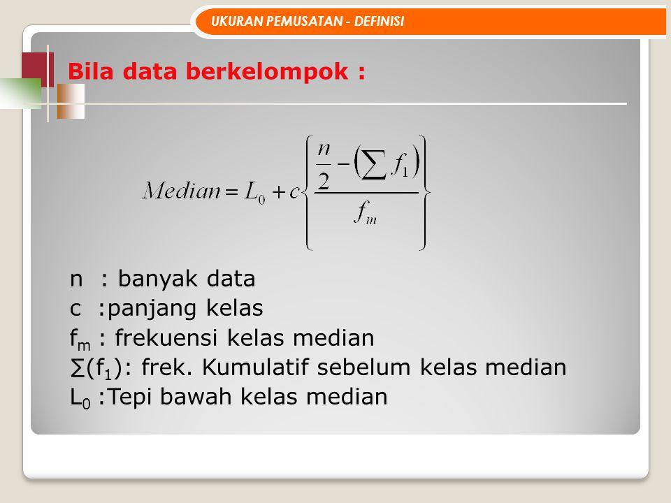 Bila data berkelompok : UKURAN PEMUSATAN - DEFINISI n : banyak data c :panjang kelas f m : frekuensi kelas median ∑(f 1 ): frek. Kumulatif sebelum kel