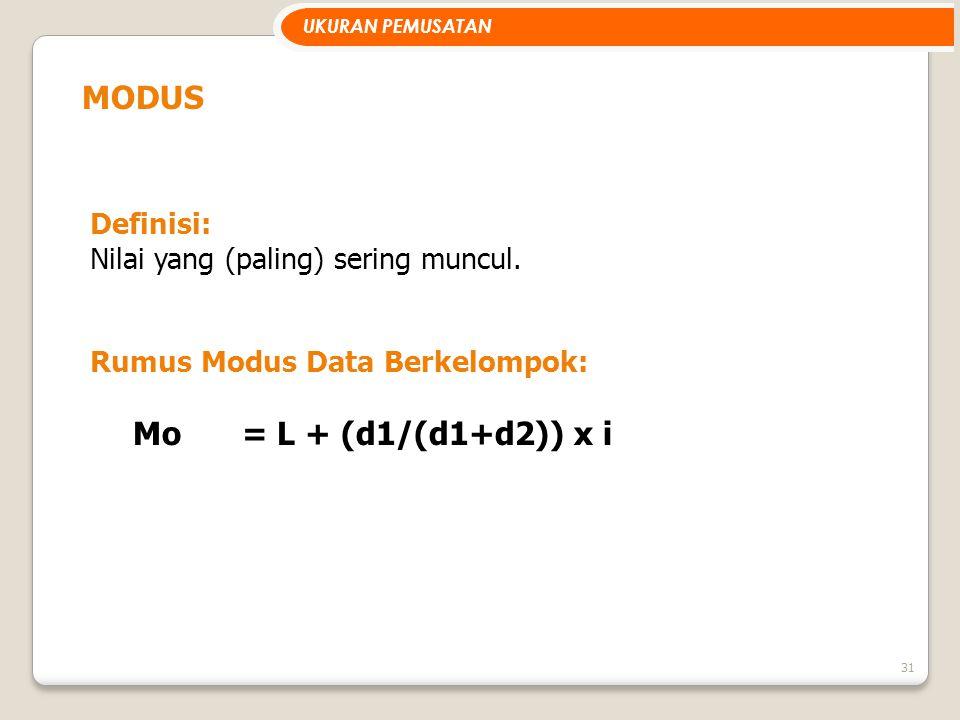 31 MODUS Definisi: Nilai yang (paling) sering muncul. Rumus Modus Data Berkelompok: Mo= L + (d1/(d1+d2)) x i UKURAN PEMUSATAN
