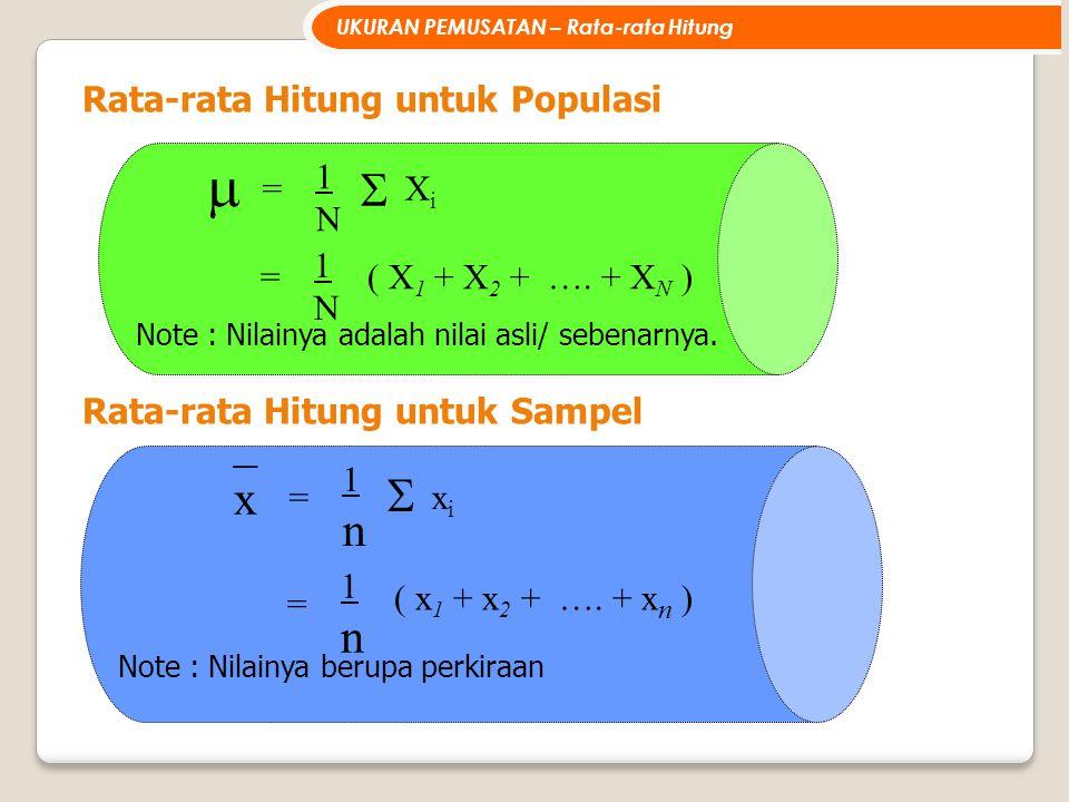 Rata-rata Hitung untuk Populasi = 1n1n ( x 1 + x 2 + …. + x n ) = 1n1n  xixi _x_x Note : Nilainya berupa perkiraan  = 1N1N  XiXi = 1N1N ( X 1 + X 2