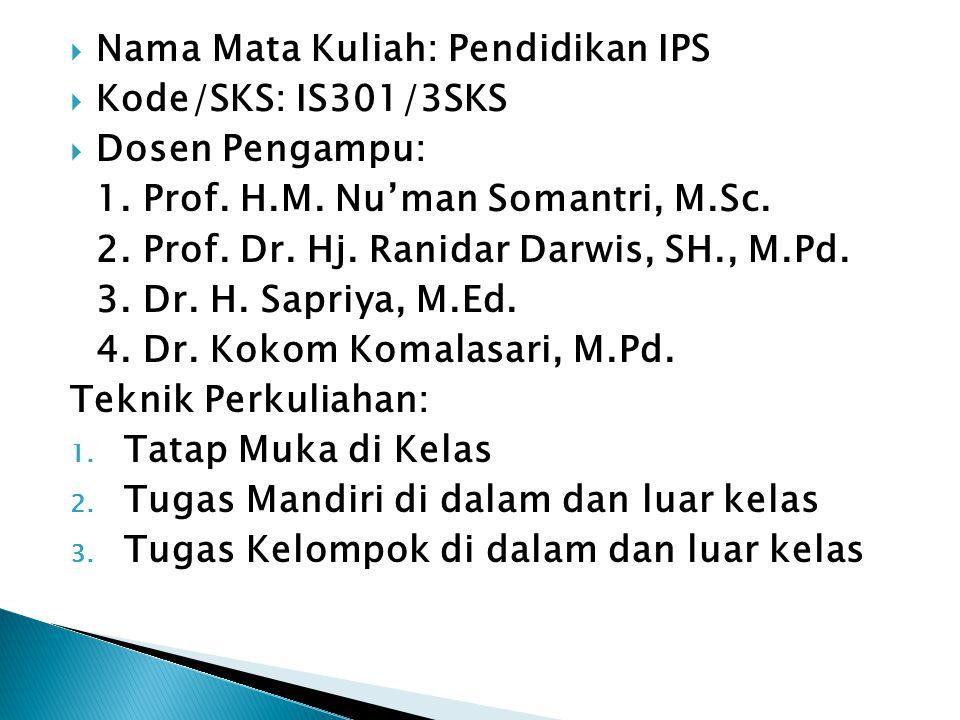  Nama Mata Kuliah: Pendidikan IPS  Kode/SKS: IS301/3SKS  Dosen Pengampu: 1. Prof. H.M. Nu'man Somantri, M.Sc. 2. Prof. Dr. Hj. Ranidar Darwis, SH.,