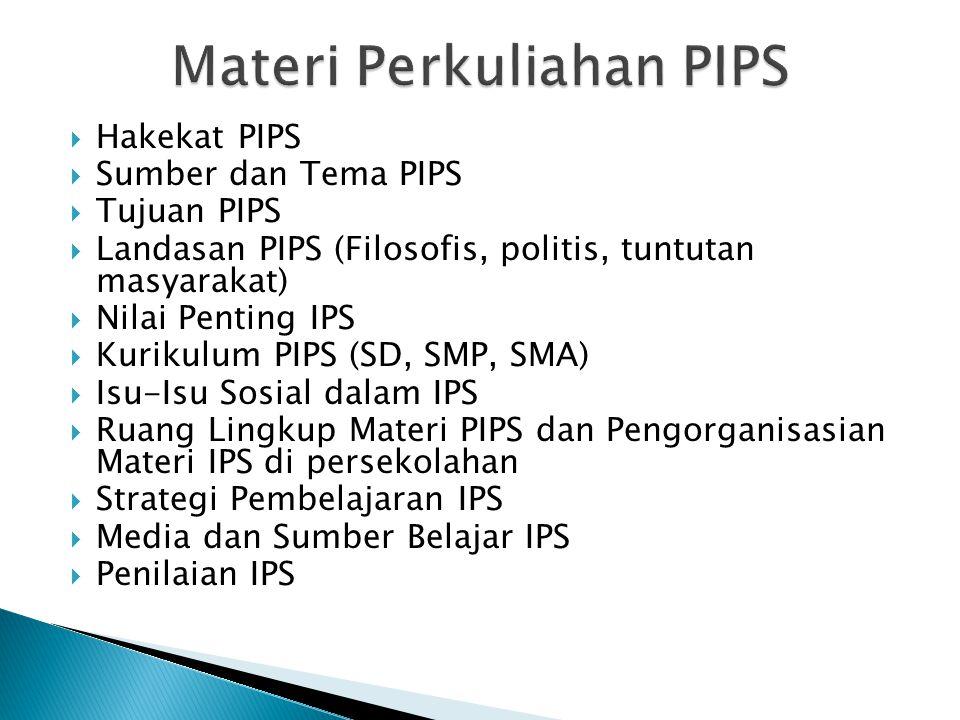  Hakekat PIPS  Sumber dan Tema PIPS  Tujuan PIPS  Landasan PIPS (Filosofis, politis, tuntutan masyarakat)  Nilai Penting IPS  Kurikulum PIPS (SD
