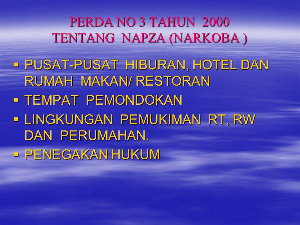 PERDA NO 3 TAHUN 2000 TENTANG NAPZA (NARKOBA )  PUSAT-PUSAT HIBURAN, HOTEL DAN RUMAH MAKAN/ RESTORAN  TEMPAT PEMONDOKAN  LINGKUNGAN PEMUKIMAN RT, R