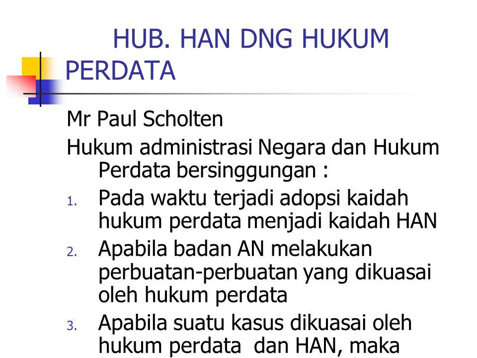 HUB. HAN DNG HUKUM PERDATA Mr Paul Scholten Hukum administrasi Negara dan Hukum Perdata bersinggungan : 1. Pada waktu terjadi adopsi kaidah hukum perd
