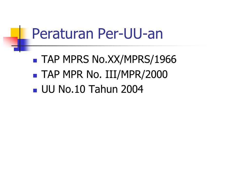 Peraturan Per-UU-an TAP MPRS No.XX/MPRS/1966 TAP MPR No. III/MPR/2000 UU No.10 Tahun 2004