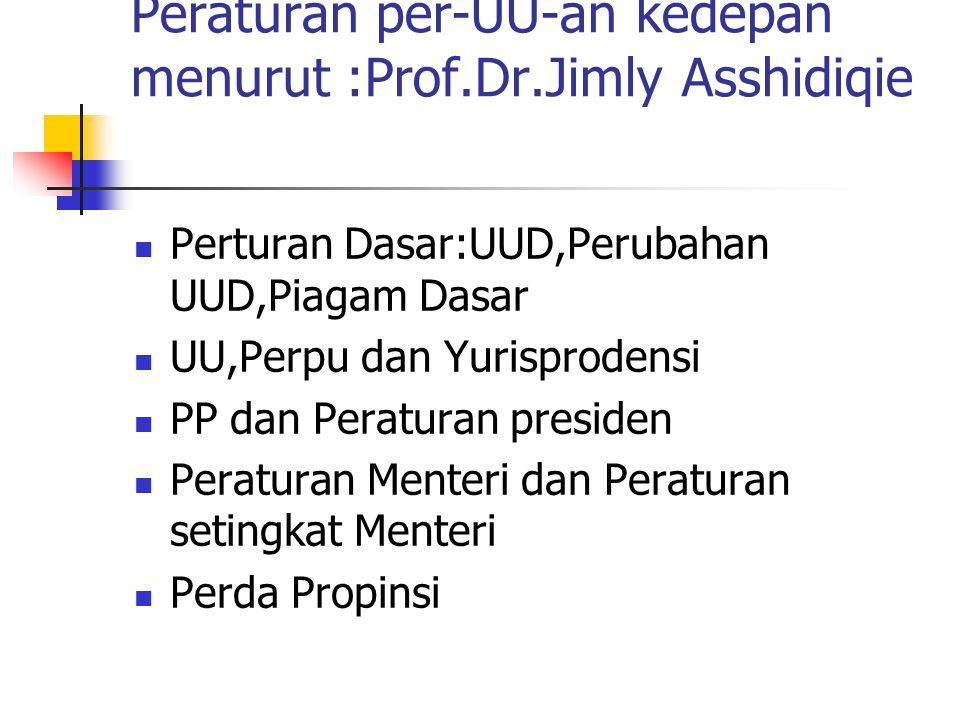 Peraturan per-UU-an kedepan menurut :Prof.Dr.Jimly Asshidiqie Perturan Dasar:UUD,Perubahan UUD,Piagam Dasar UU,Perpu dan Yurisprodensi PP dan Peratura