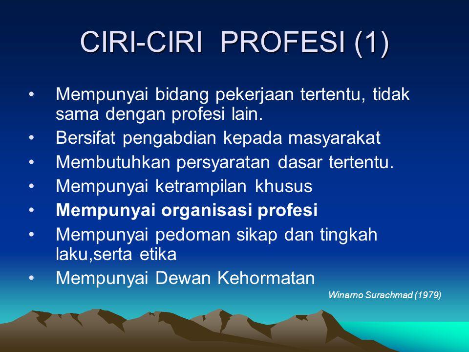CIRI-CIRI PROFESI (1) Mempunyai bidang pekerjaan tertentu, tidak sama dengan profesi lain. Bersifat pengabdian kepada masyarakat Membutuhkan persyarat