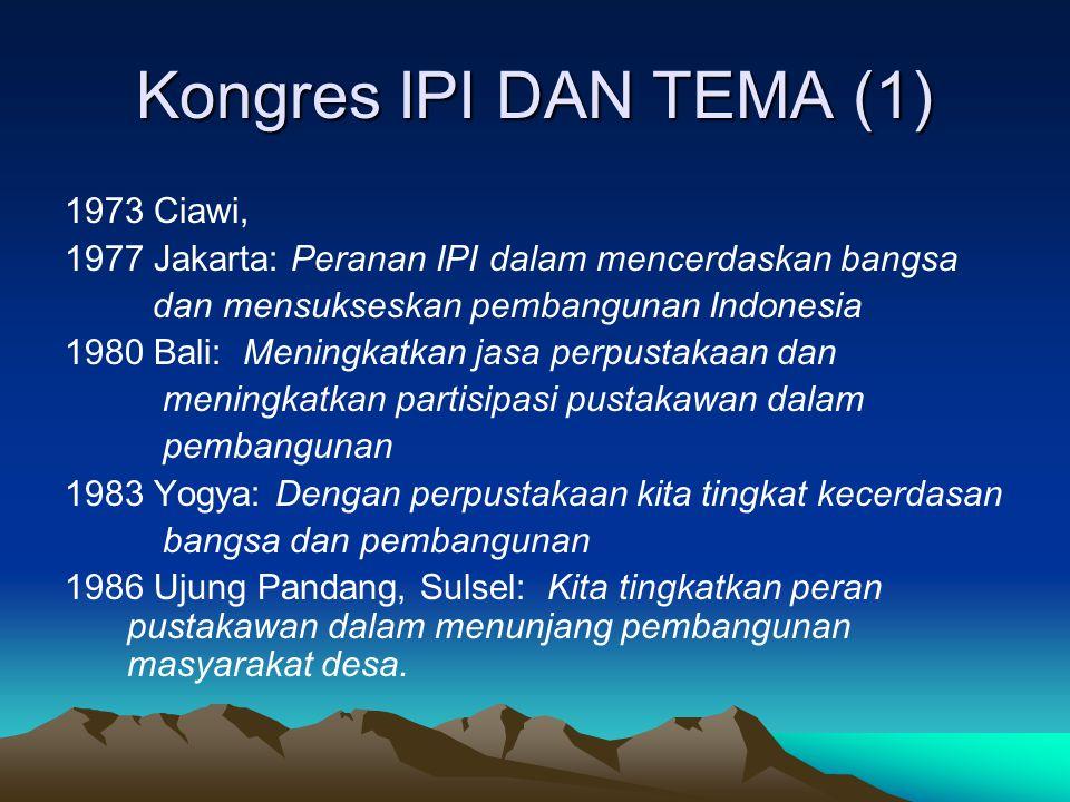 Kongres IPI DAN TEMA (1) 1973 Ciawi, 1977 Jakarta: Peranan IPI dalam mencerdaskan bangsa dan mensukseskan pembangunan Indonesia 1980 Bali: Meningkatka