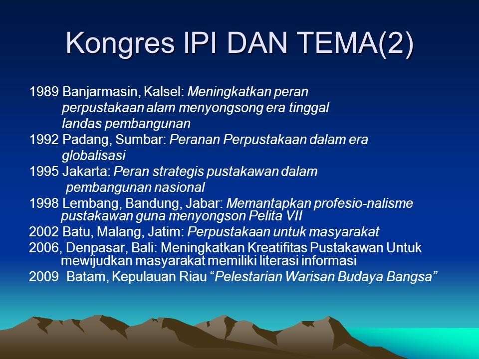 Kongres IPI DAN TEMA(2) 1989 Banjarmasin, Kalsel: Meningkatkan peran perpustakaan alam menyongsong era tinggal landas pembangunan 1992 Padang, Sumbar:
