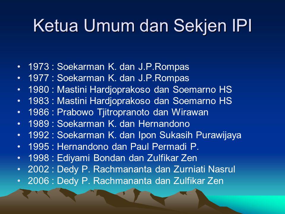 Ketua Umum dan Sekjen IPI 1973 : Soekarman K. dan J.P.Rompas 1977 : Soekarman K. dan J.P.Rompas 1980 : Mastini Hardjoprakoso dan Soemarno HS 1983 : Ma