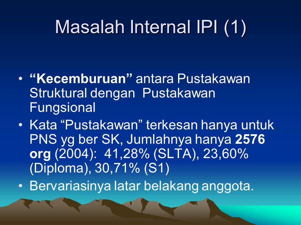 Masalah Internal IPI (1) Kecemburuan antara Pustakawan Struktural dengan Pustakawan Fungsional Kata Pustakawan terkesan hanya untuk PNS yg ber SK, Jumlahnya hanya 2576 org (2004): 41,28% (SLTA), 23,60% (Diploma), 30,71% (S1) Bervariasinya latar belakang anggota.