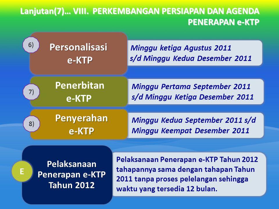 Lanjutan(7)… VIII. PERKEMBANGAN PERSIAPAN DAN AGENDA PENERAPAN e-KTP Minggu ketiga Agustus 2011 s/d Minggu Kedua Desember 2011 Personalisasi e-KTP Min