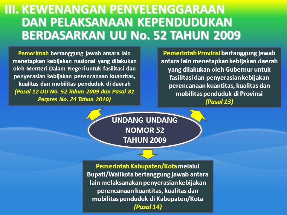 UNDANG UNDANG NOMOR 52 TAHUN 2009 Pemerintah bertanggung jawab antara lain menetapkan kebijakan nasional yang dilakukan oleh Menteri Dalam Negeri untu