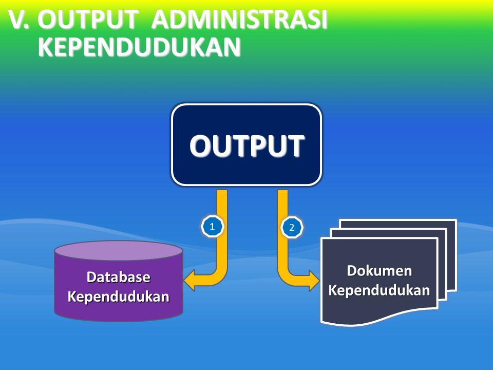 V.OUTPUT ADMINISTRASI KEPENDUDUKAN OUTPUT Database Kependudukan Dokumen Kependudukan 1 2