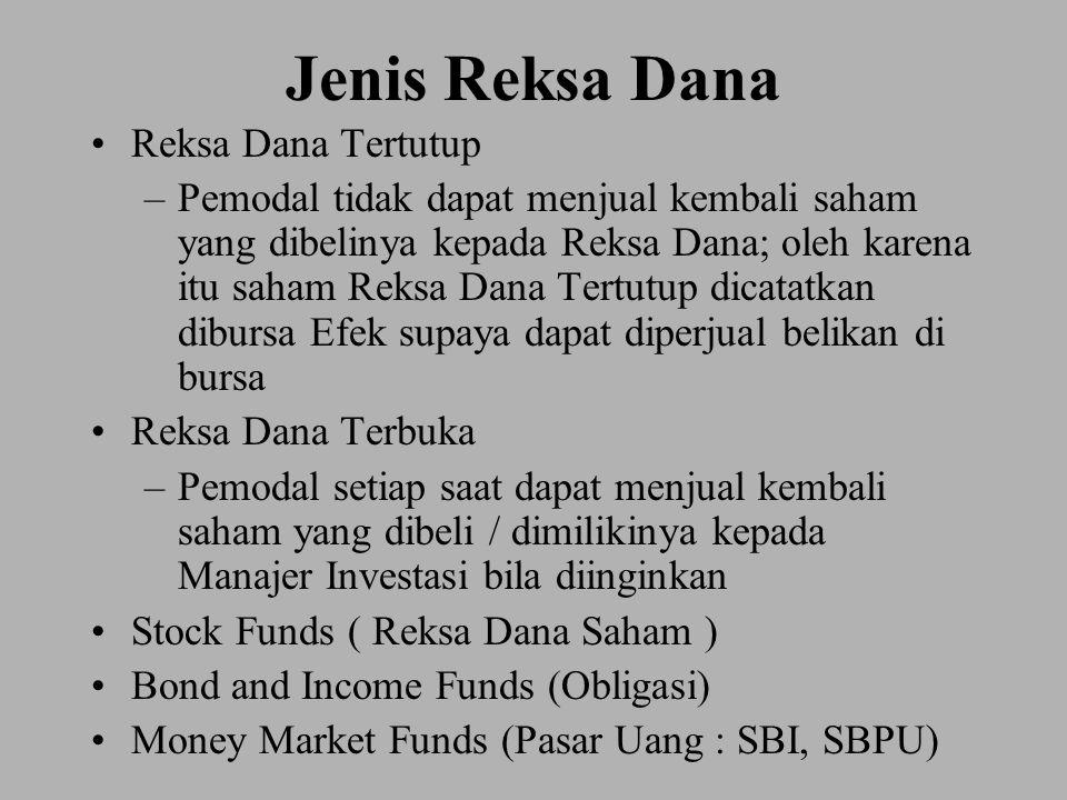 Jenis Reksa Dana Reksa Dana Tertutup –Pemodal tidak dapat menjual kembali saham yang dibelinya kepada Reksa Dana; oleh karena itu saham Reksa Dana Tertutup dicatatkan dibursa Efek supaya dapat diperjual belikan di bursa Reksa Dana Terbuka –Pemodal setiap saat dapat menjual kembali saham yang dibeli / dimilikinya kepada Manajer Investasi bila diinginkan Stock Funds ( Reksa Dana Saham ) Bond and Income Funds (Obligasi) Money Market Funds (Pasar Uang : SBI, SBPU)