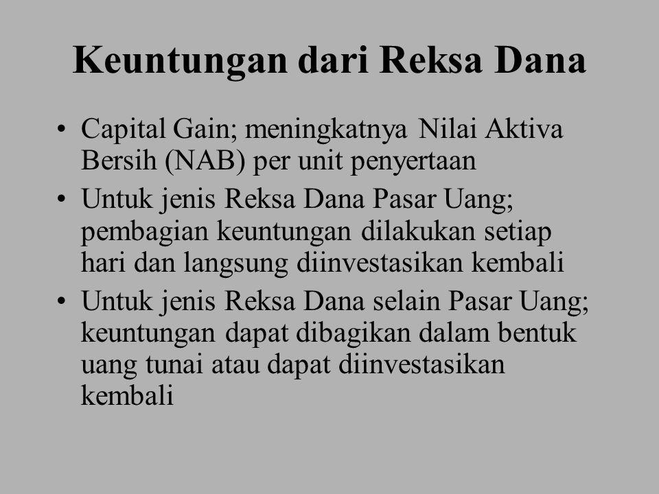 Keuntungan dari Reksa Dana Capital Gain; meningkatnya Nilai Aktiva Bersih (NAB) per unit penyertaan Untuk jenis Reksa Dana Pasar Uang; pembagian keuntungan dilakukan setiap hari dan langsung diinvestasikan kembali Untuk jenis Reksa Dana selain Pasar Uang; keuntungan dapat dibagikan dalam bentuk uang tunai atau dapat diinvestasikan kembali
