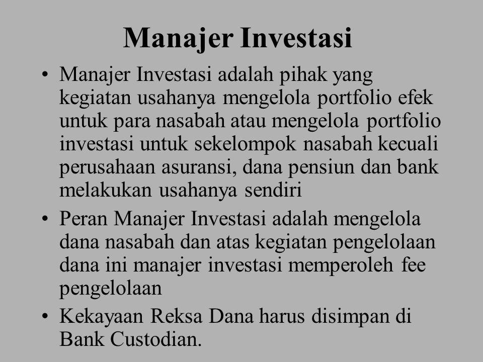 Manajer Investasi Manajer Investasi adalah pihak yang kegiatan usahanya mengelola portfolio efek untuk para nasabah atau mengelola portfolio investasi