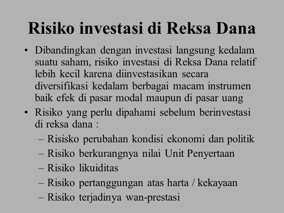Risiko investasi di Reksa Dana Dibandingkan dengan investasi langsung kedalam suatu saham, risiko investasi di Reksa Dana relatif lebih kecil karena d