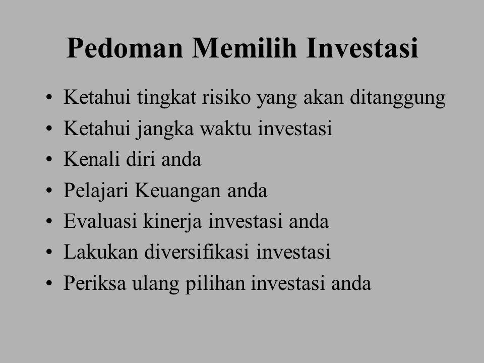 Pedoman Memilih Investasi Ketahui tingkat risiko yang akan ditanggung Ketahui jangka waktu investasi Kenali diri anda Pelajari Keuangan anda Evaluasi