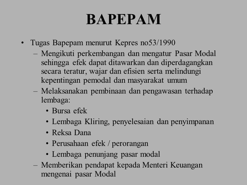 BAPEPAM Tugas Bapepam menurut Kepres no53/1990 –Mengikuti perkembangan dan mengatur Pasar Modal sehingga efek dapat ditawarkan dan diperdagangkan seca