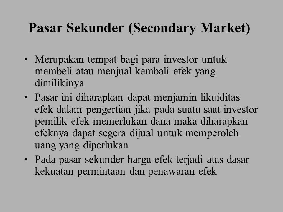 Pasar Sekunder (Secondary Market) Merupakan tempat bagi para investor untuk membeli atau menjual kembali efek yang dimilikinya Pasar ini diharapkan da