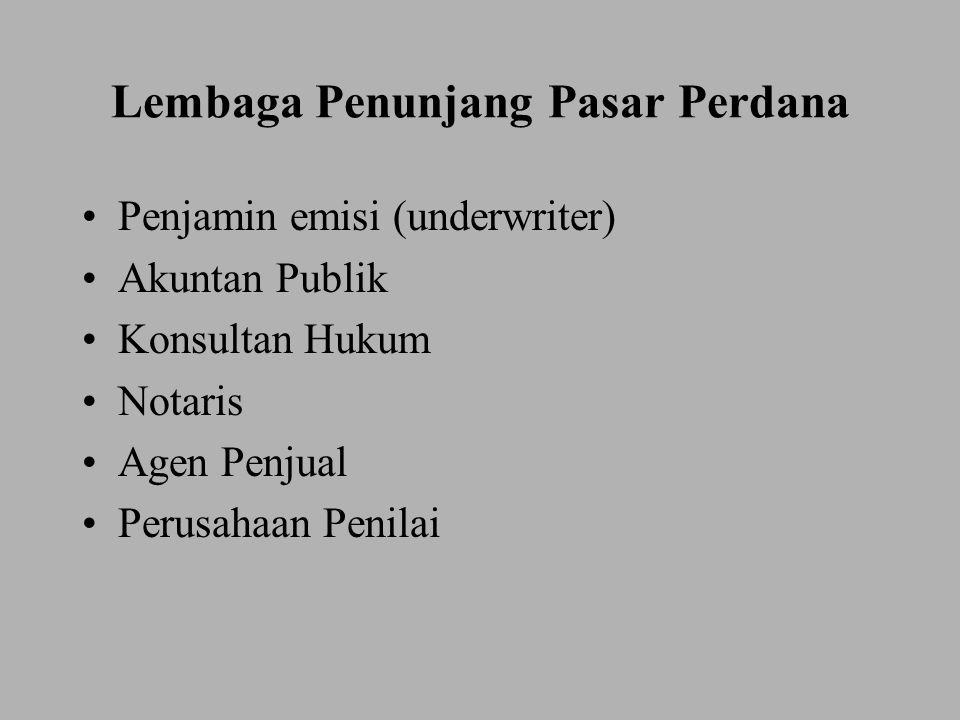 Pelaku Pasar Modal Emiten Investor Penjamin emisi (underwriter) Agen Penjual Penanggung (Guarantor) Wali Amanat (Trustee) Pialang Biro Administrasi Efek (BAE) Tempat Penitipan Harta (Bank Custodian)