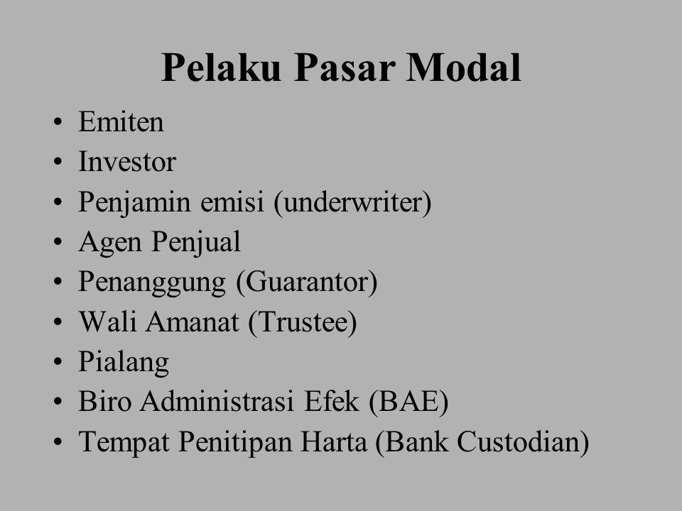 Pelaku Pasar Modal Emiten Investor Penjamin emisi (underwriter) Agen Penjual Penanggung (Guarantor) Wali Amanat (Trustee) Pialang Biro Administrasi Ef