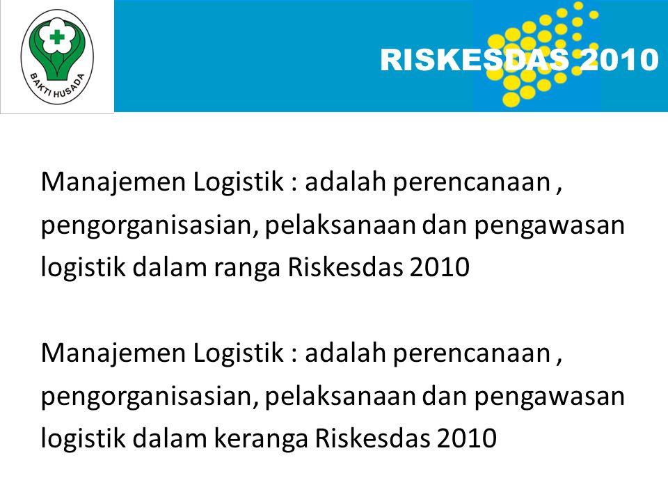 RISKESDAS 2010 Manajemen Logistik : adalah perencanaan, pengorganisasian, pelaksanaan dan pengawasan logistik dalam ranga Riskesdas 2010 Manajemen Logistik : adalah perencanaan, pengorganisasian, pelaksanaan dan pengawasan logistik dalam keranga Riskesdas 2010