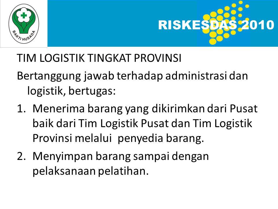 TIM LOGISTIK TINGKAT PROVINSI Bertanggung jawab terhadap administrasi dan logistik, bertugas: 1.Menerima barang yang dikirimkan dari Pusat baik dari Tim Logistik Pusat dan Tim Logistik Provinsi melalui penyedia barang.