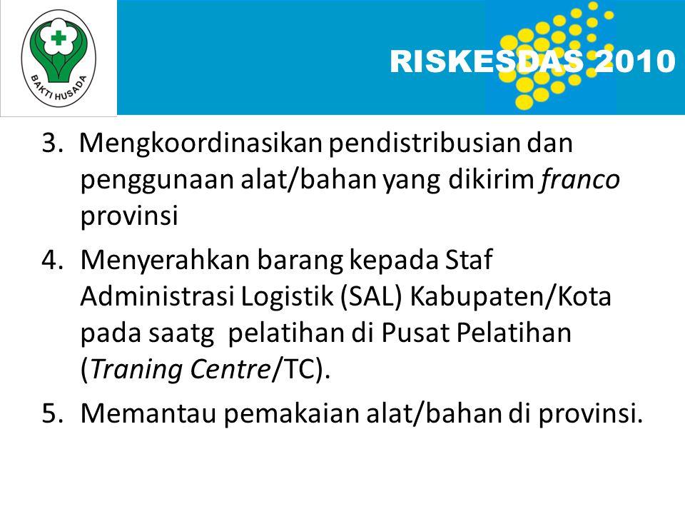 3. Mengkoordinasikan pendistribusian dan penggunaan alat/bahan yang dikirim franco provinsi 4.Menyerahkan barang kepada Staf Administrasi Logistik (SA