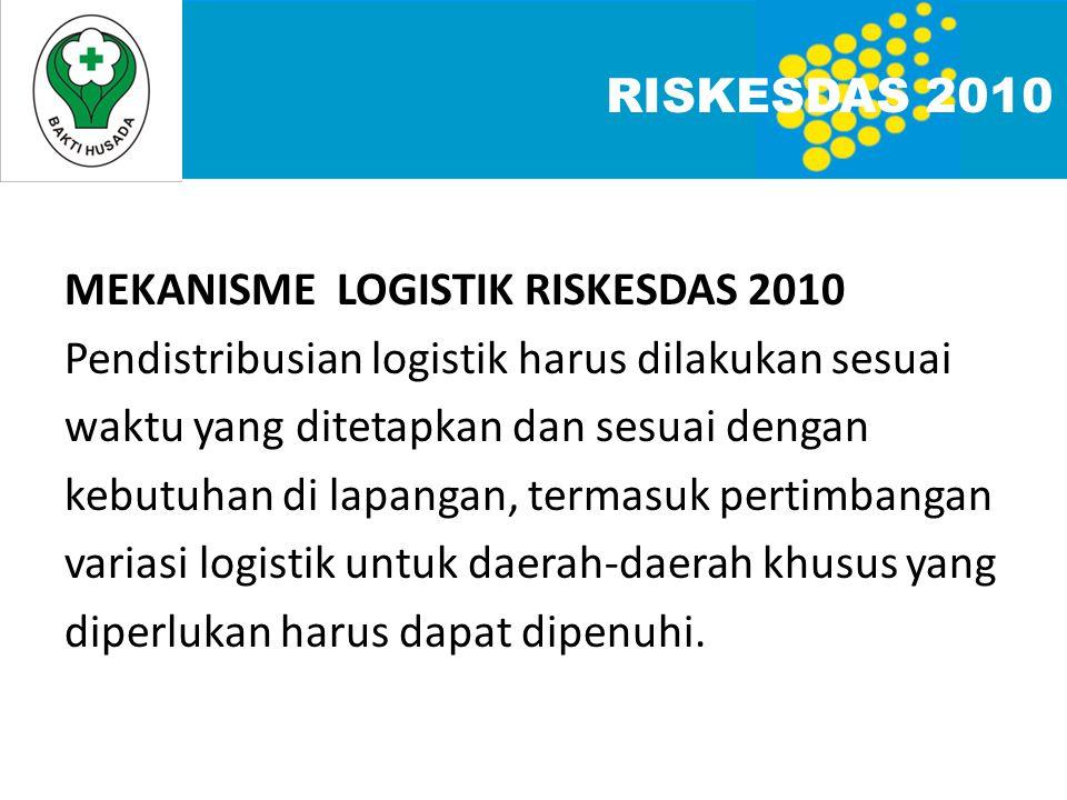 MEKANISME LOGISTIK RISKESDAS 2010 Pendistribusian logistik harus dilakukan sesuai waktu yang ditetapkan dan sesuai dengan kebutuhan di lapangan, termasuk pertimbangan variasi logistik untuk daerah-daerah khusus yang diperlukan harus dapat dipenuhi.