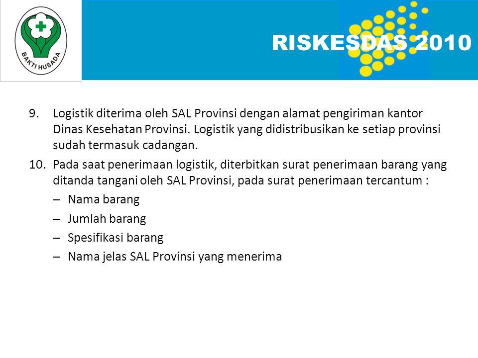9.Logistik diterima oleh SAL Provinsi dengan alamat pengiriman kantor Dinas Kesehatan Provinsi.