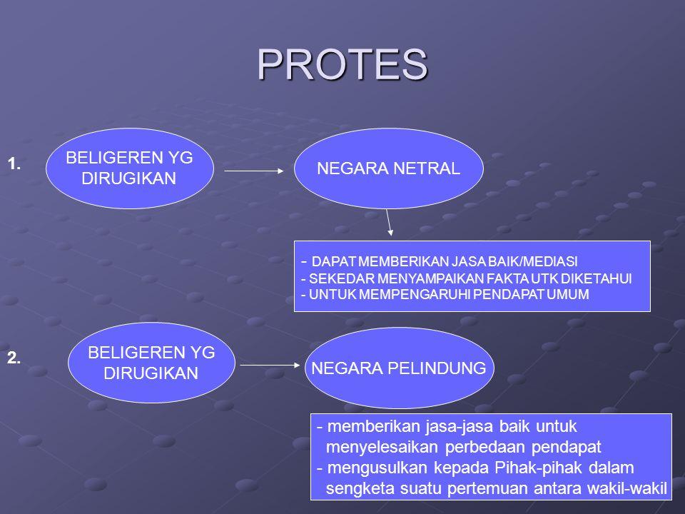 PROTES BELIGEREN YG DIRUGIKAN NEGARA NETRAL - DAPAT MEMBERIKAN JASA BAIK/MEDIASI - SEKEDAR MENYAMPAIKAN FAKTA UTK DIKETAHUI - UNTUK MEMPENGARUHI PENDAPAT UMUM 1.