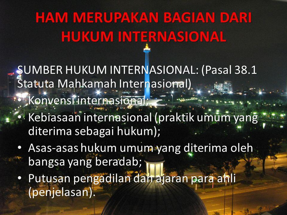 HAM MERUPAKAN BAGIAN DARI HUKUM INTERNASIONAL SUMBER HUKUM INTERNASIONAL: (Pasal 38.1 Statuta Mahkamah Internasional) Konvensi internasional; Konvensi