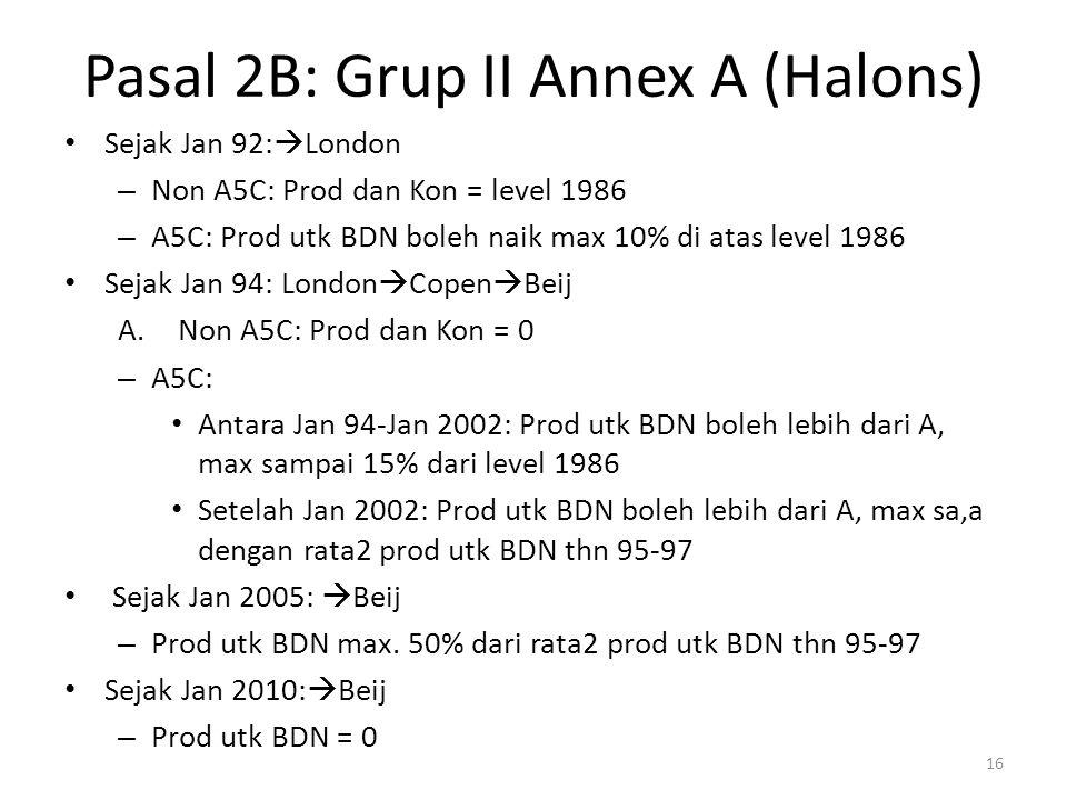 Pasal 2B: Grup II Annex A (Halons) Sejak Jan 92:  London – Non A5C: Prod dan Kon = level 1986 – A5C: Prod utk BDN boleh naik max 10% di atas level 19