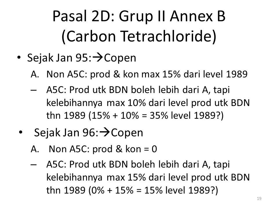 Pasal 2D: Grup II Annex B (Carbon Tetrachloride) Sejak Jan 95:  Copen A.Non A5C: prod & kon max 15% dari level 1989 – A5C: Prod utk BDN boleh lebih d