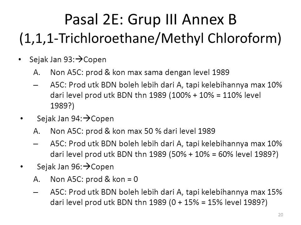 Pasal 2E: Grup III Annex B (1,1,1-Trichloroethane/Methyl Chloroform) Sejak Jan 93:  Copen A.Non A5C: prod & kon max sama dengan level 1989 – A5C: Pro